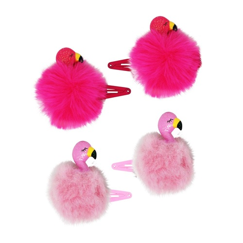 HCG146 Fluffy Flamingo Hair Clips